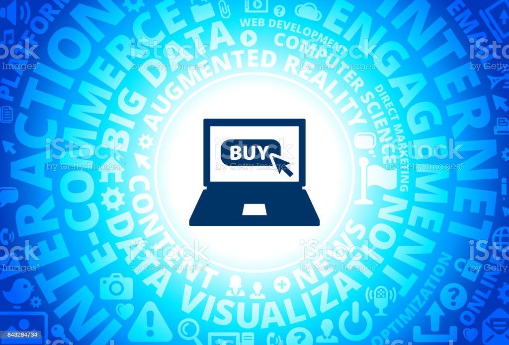 Shopping Online Icon on Internet Modern Technology Words Background vector art illustration