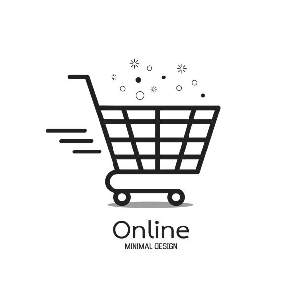 stockillustraties, clipart, cartoons en iconen met winkelen online minimale embleemontwerp. levering concept. vectorillustratie - winkelwagentje