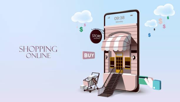ilustrações de stock, clip art, desenhos animados e ícones de shopping online on website or mobile application - online shopping