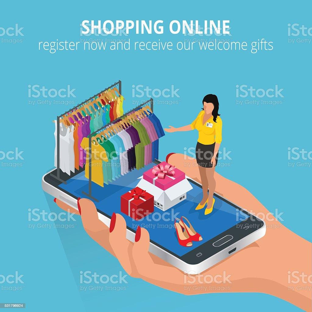 Shopping online. vector art illustration