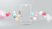istock Shopping Online with Realistic Modern Smartphone. Virtual Realistic Geometry, Gifts, Shopping items. Marketing and Digital marketing 1247567791