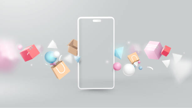 shopping online with realistic modern smartphone. virtual realistic geometry, gifts, shopping items. marketing and digital marketing - credit card stock illustrations