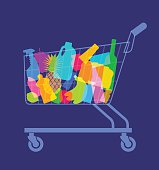 Colourful overlapping silhouettes of groceries in shopping trolley. EPS10 file best in RGB, CS5 version in zip