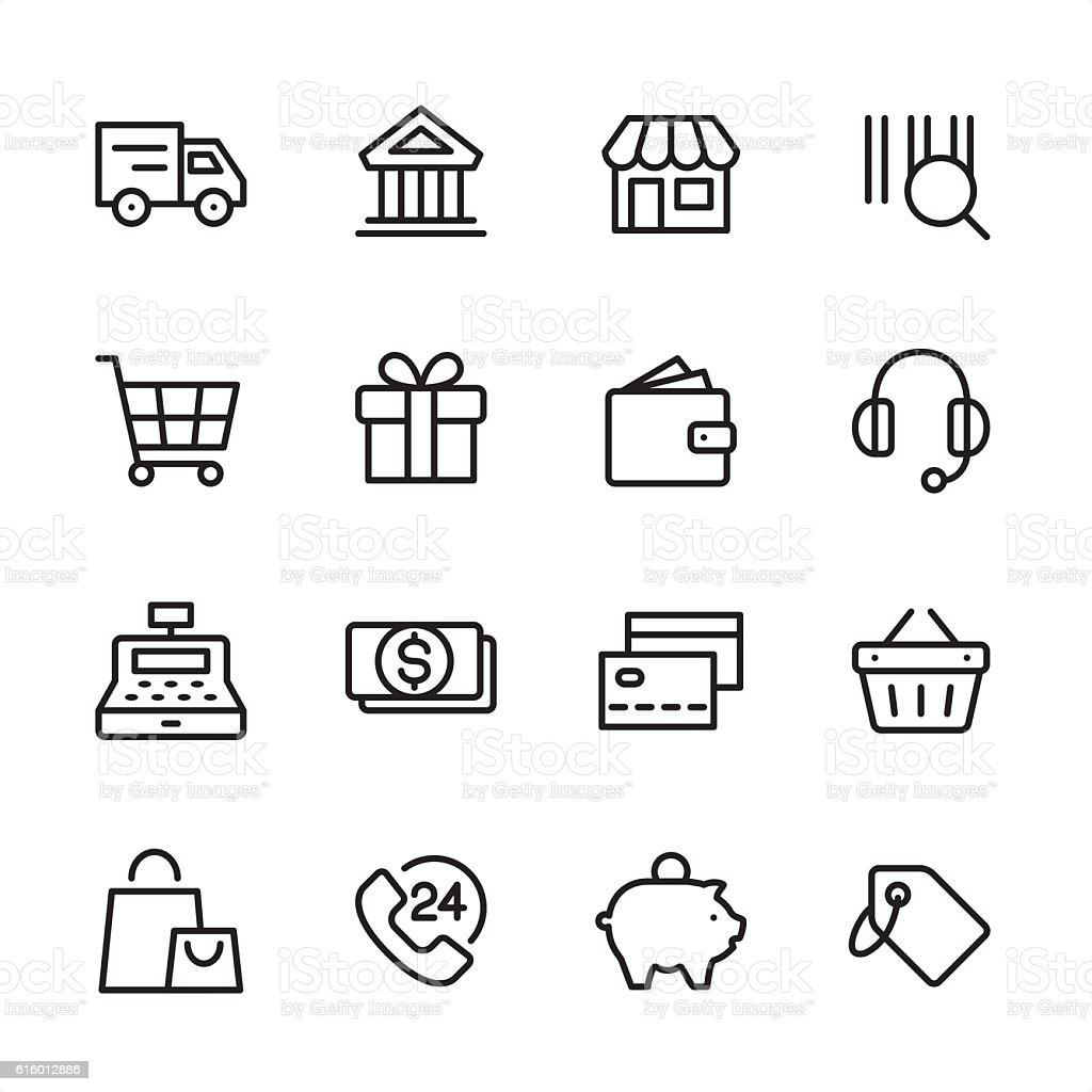 Shopping - outline style vector icons vector art illustration