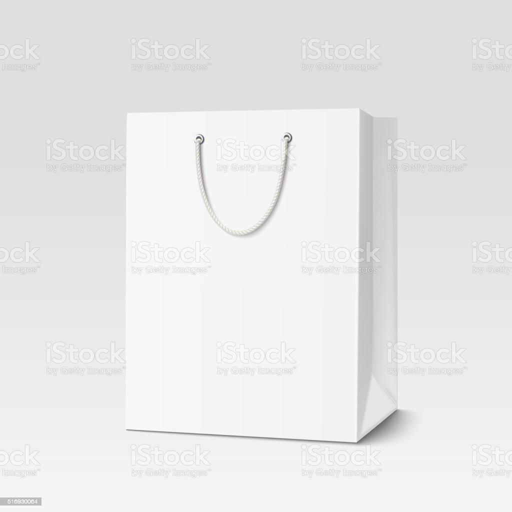 Shopping paper bag vector art illustration