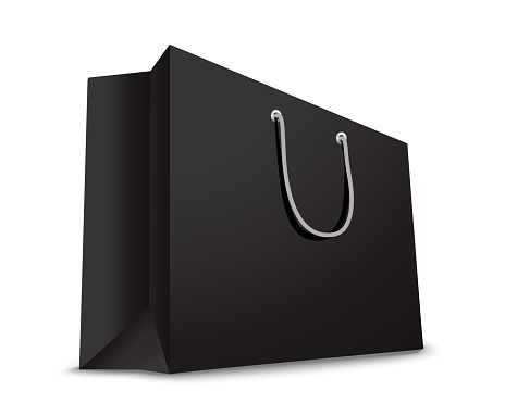 Shopping paper black  bag empty, vector illustration