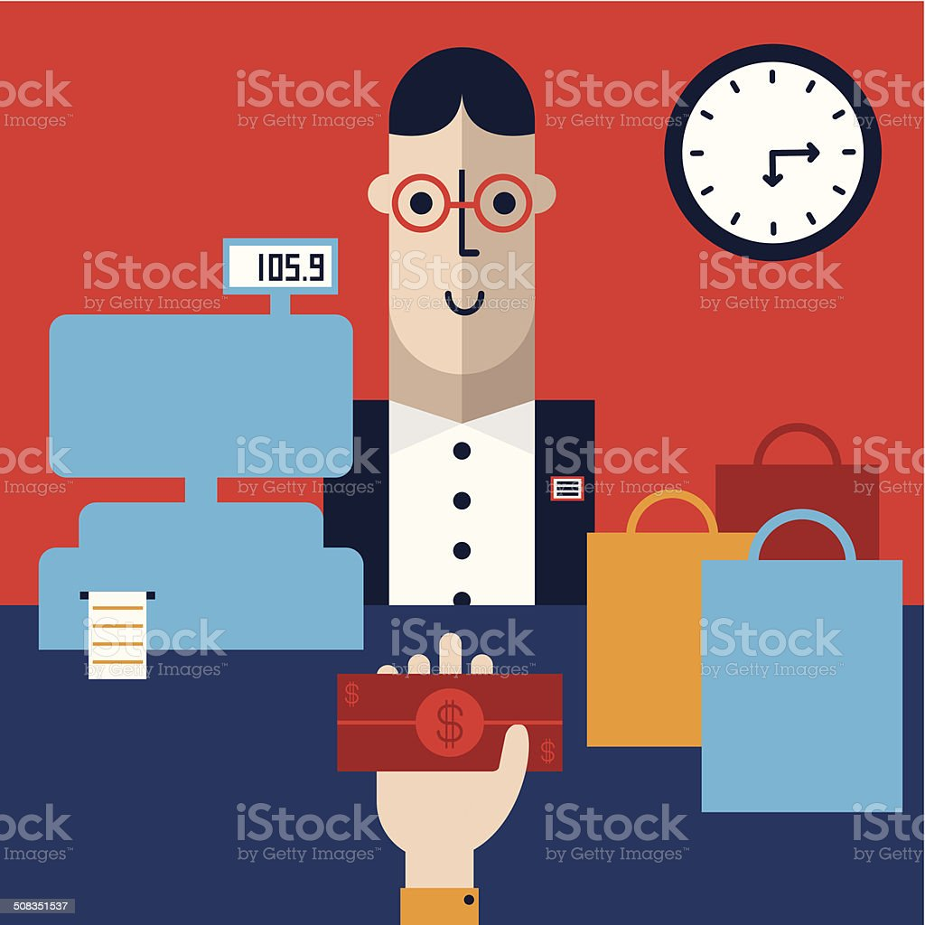 Shopping & Paying with Cash vector art illustration