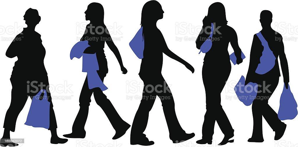 shopping pedestrians royalty-free stock vector art