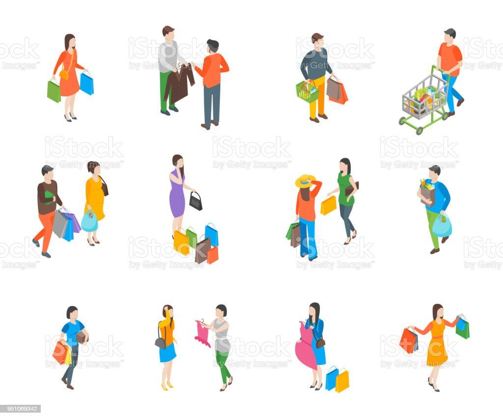 İnsanlar alışveriş 3d simgeleri izometrik görünümü ayarlayın. Vektör vektör sanat illüstrasyonu