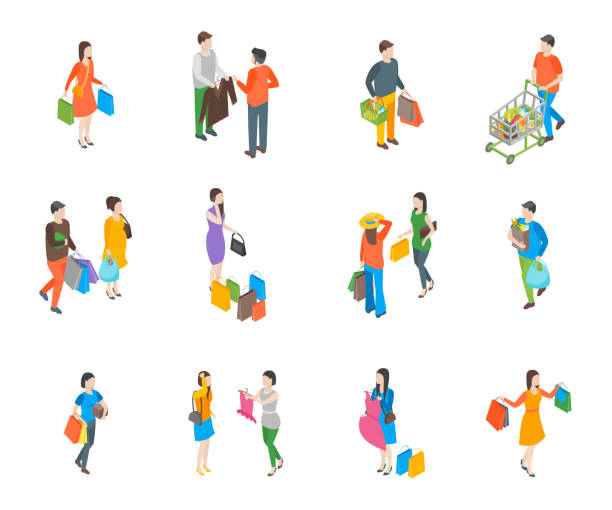 shopping people 3d icons set isometric view. vector - handel detaliczny stock illustrations