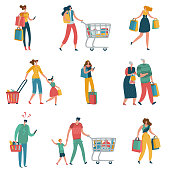 Shopping people. Persons shop family basket cart consume retail purchase store shopaholic mall supermarket shopper flat vector set