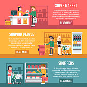 Shopping people, shoppers, family in supermarket flat retail banners set