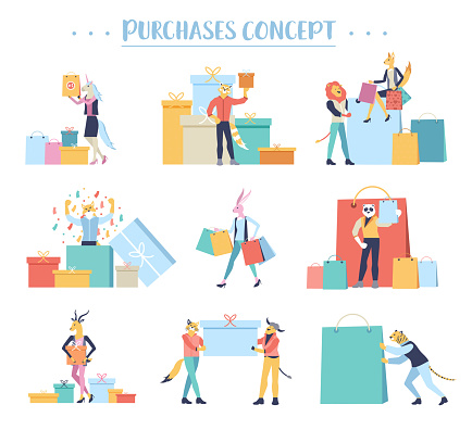 shopping people vector concept. Purchase illustration flat design