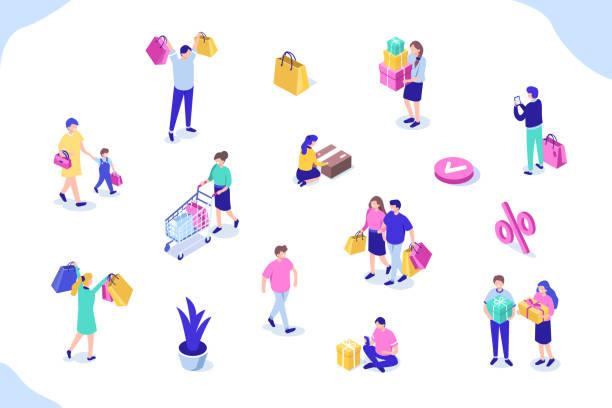 ilustraciones, imágenes clip art, dibujos animados e iconos de stock de comerciales personas - shopping