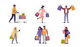 People Character holding Shopping Bags with Purchases. Woman and Man Customers Buying on Seasonal Sale in Store, Fashion Mall. Buyers Characters Collection. Flat Cartoon Vector Illustration.