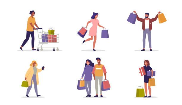 einkaufsgäste - konsum stock-grafiken, -clipart, -cartoons und -symbole