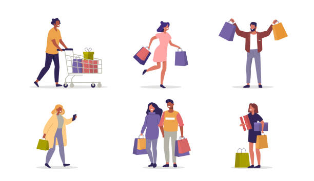 shopping people - kupować stock illustrations