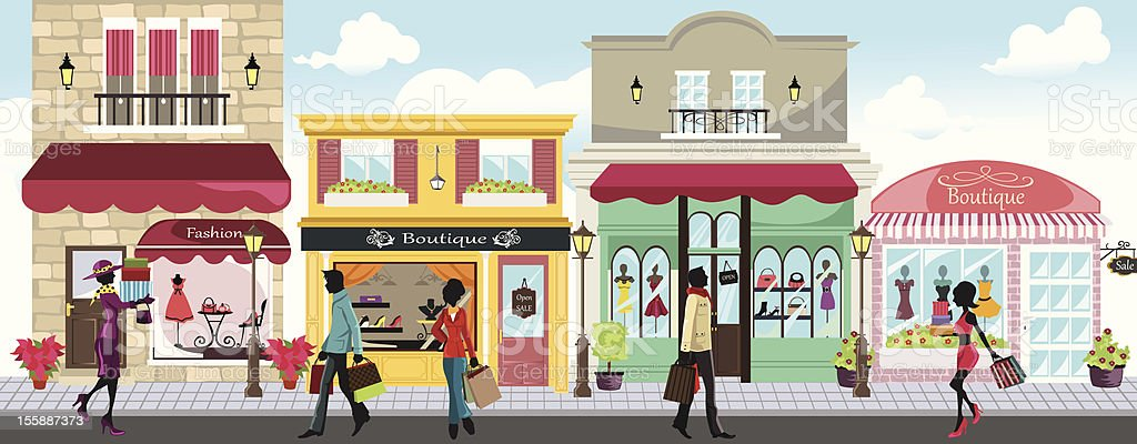 Shopping people vector art illustration