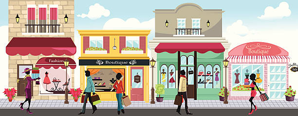 shopping personen - modeboutique stock-grafiken, -clipart, -cartoons und -symbole