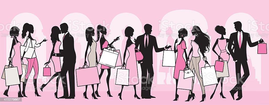 ショッピングの人々 ベクターアートイラスト