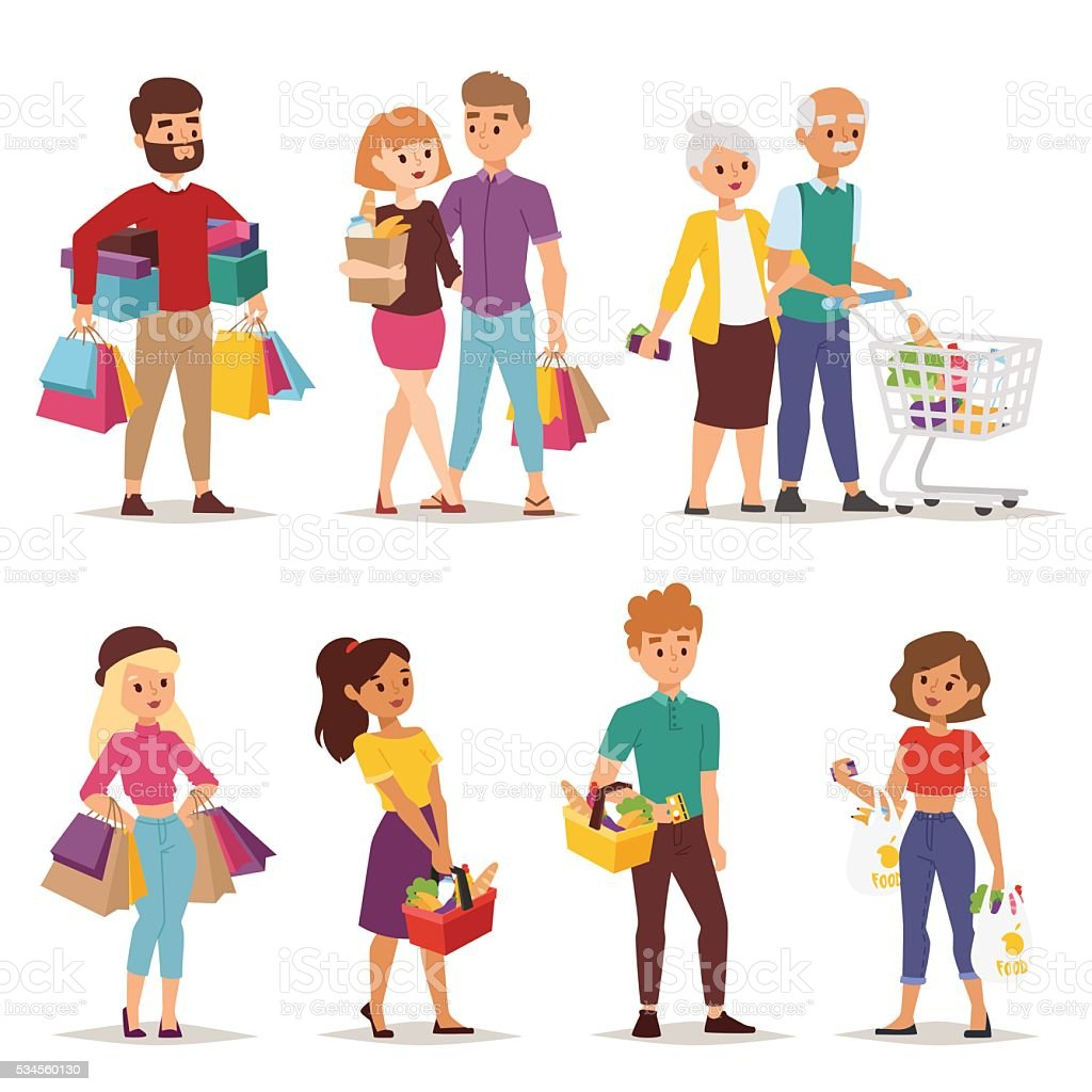 Shopping people vector set. vector art illustration