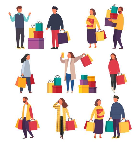 zakupy ludzi z torbami. ilustracja sprzedaży wektorów - handel detaliczny stock illustrations