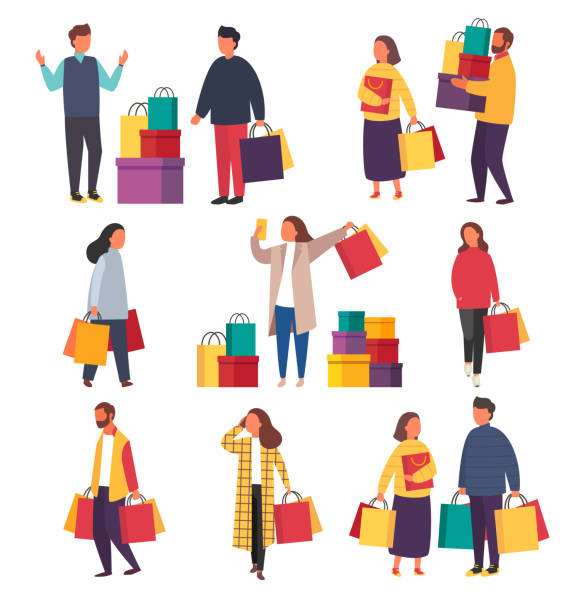 illustrazioni stock, clip art, cartoni animati e icone di tendenza di shopping people with bags. vector sale illustration - acquisti