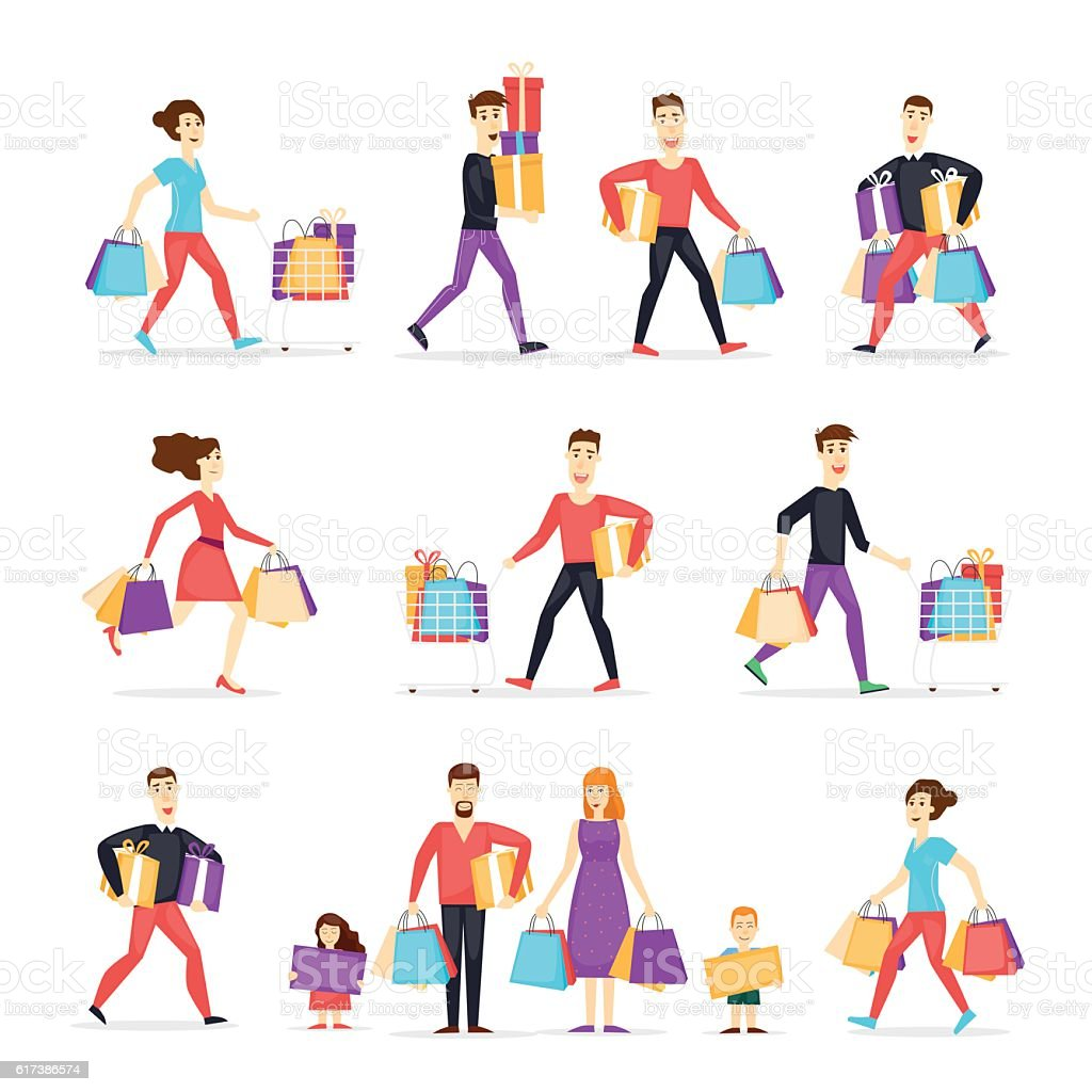 Shopping people woman and man with bags. vector art illustration