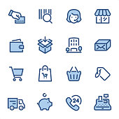 Shopping icons set #20 Specification: 16 icons, 36x36 pх, stroke weight 2 px Features: Pixel Perfect, Dichromatic, Single line   First row of icons contains: Credit Card Paying, Bar Code, Merchandise, Store;  Second row contains: Wallet, Packaging, Shopping Mall, Package;  Third row contains: Shopping Cart, Shopping Bag, Shopping Basket, Price Tag;  Fourth row contains: Delivery Truck, Piggy Bank, 24 Hrs, Cash Register.  Complete BLUE MICO collection - https://www.istockphoto.com/collaboration/boards/Y8ZYtc2sY0qNQVGRttlncQ