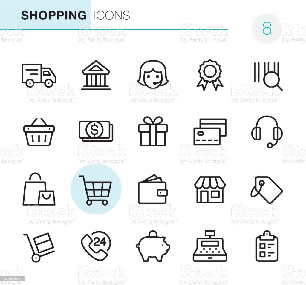 Shopping - Pixel Perfect icons - Grafika wektorowa royalty-free (24 Hrs - Angielski zwrot)