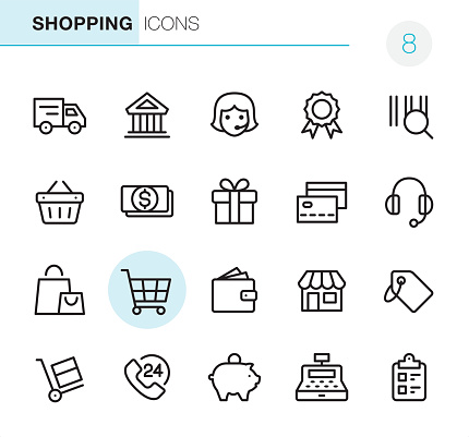 Shopping Pixel Perfect Icons - Stockowe grafiki wektorowe i więcej obrazów 24 Hrs - Angielski zwrot