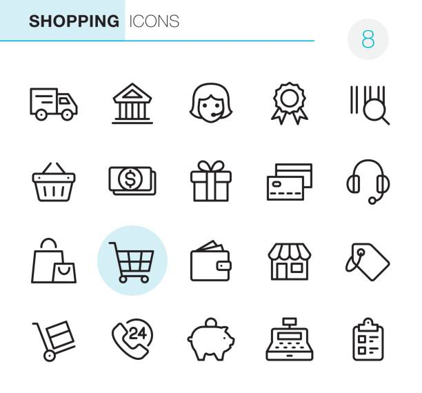Shopping - Pixel Perfect icons vector art illustration