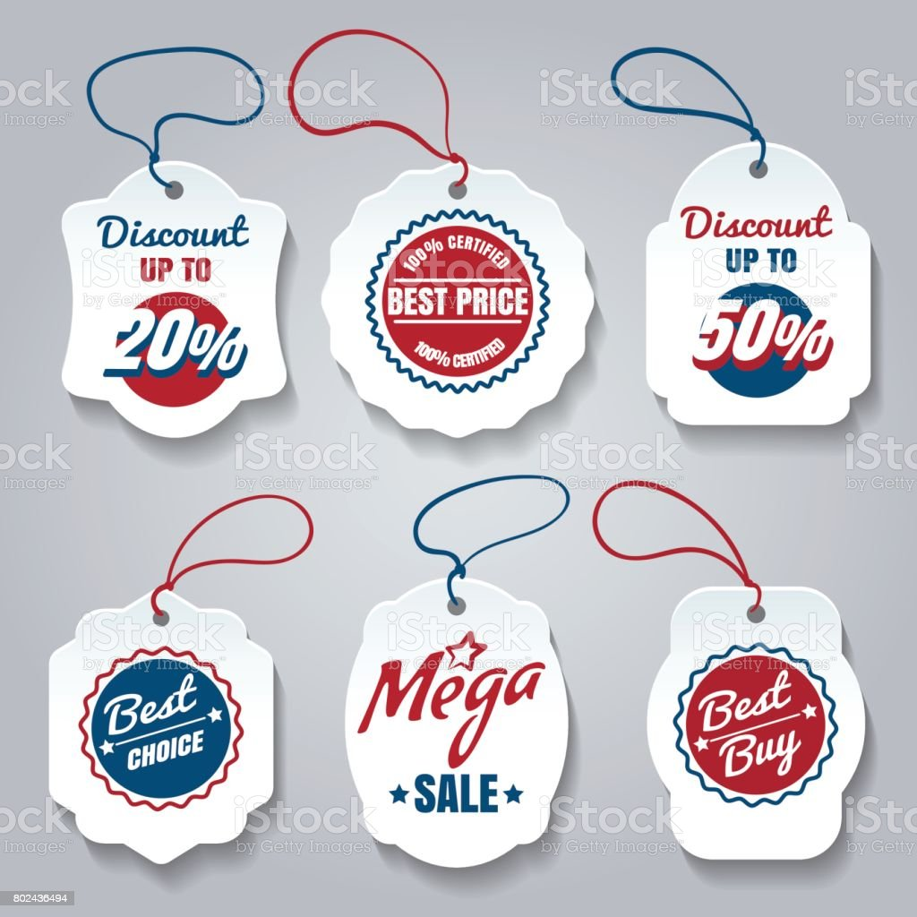 Shopping pricing tags set vector art illustration