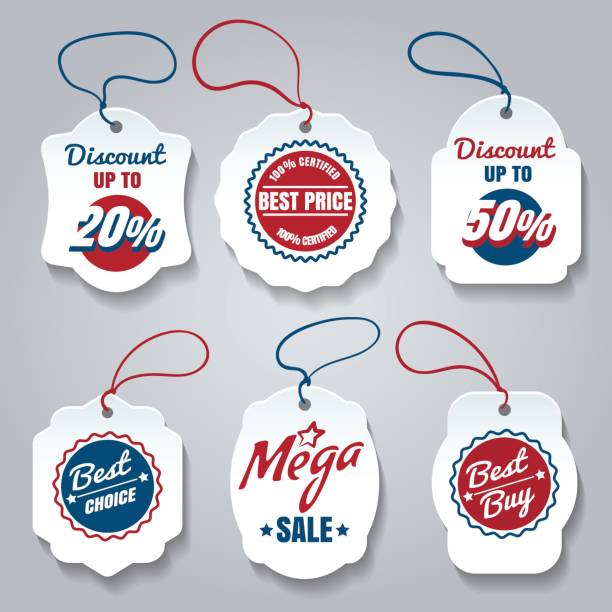 ilustrações, clipart, desenhos animados e ícones de comercial conjunto de etiquetas de preços - tag