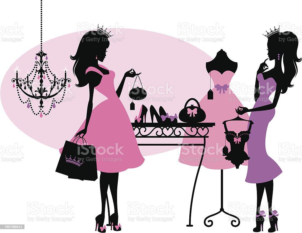 Shopping Princesses vector art illustration