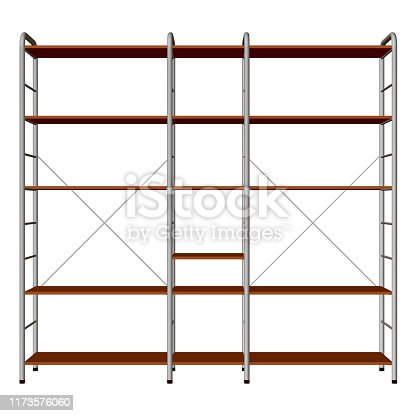 Shopping rack with empty shelves. Front view. 3D. Vector illustration.
