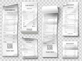 Shopping receipt. Retail store purchase receipts, supermarket invoice printing and purchasing bill. Shopping price ticket, cash check or financial tax blank. Isolated vector icons collection