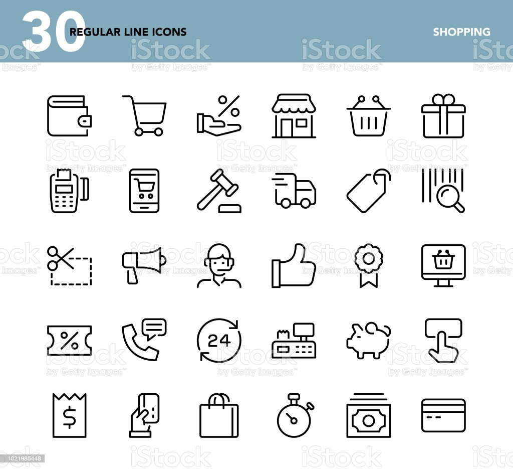 Shopping - Regular Line Icons Shopping - Regular Line Icons - Vector EPS 10 File, Pixel Perfect 30 Icons. Assistance stock vector