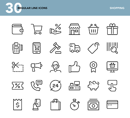 Shopping Regular Line Icons Stock Illustration - Download Image Now