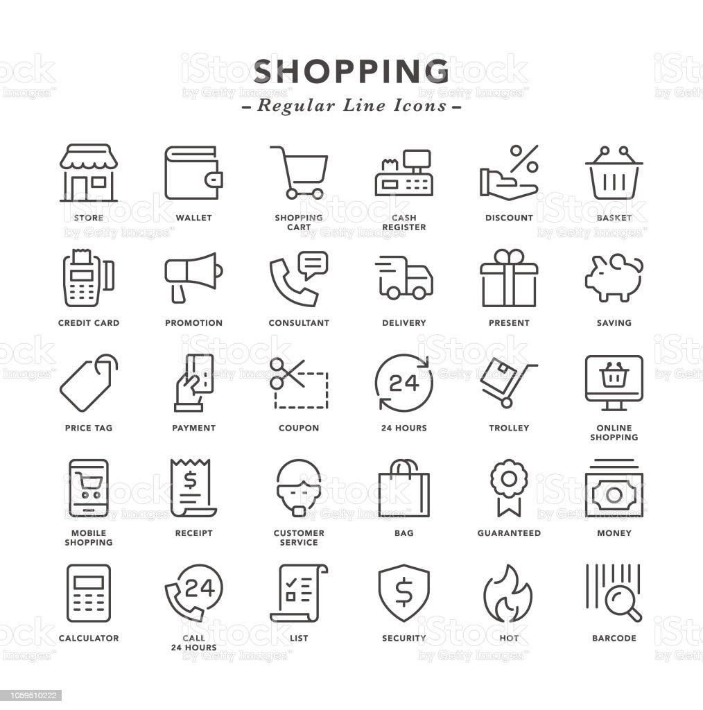 Shopping - Regular Line Icons - arte vettoriale royalty-free di Acquisto con carta di credito