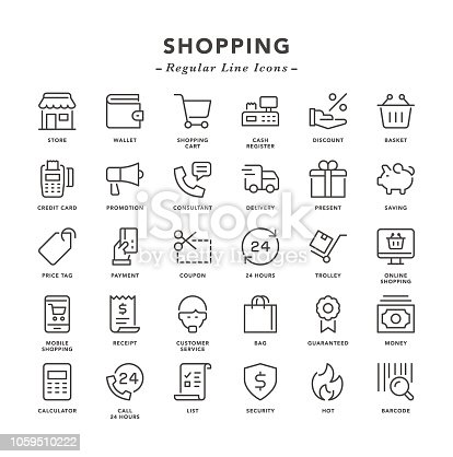 Shopping - Regular Line Icons - Vector EPS 10 File, Pixel Perfect 30 Icons.
