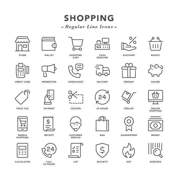 stockillustraties, clipart, cartoons en iconen met shopping - regelmatige lijn pictogrammen - elektronische handel