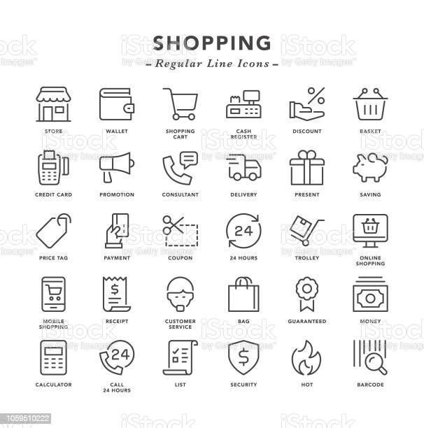 Shopping Regular Line Icons - Immagini vettoriali stock e altre immagini di Acquisto con carta di credito
