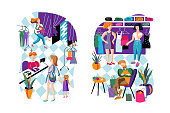 Shopping relax flat vector characters set