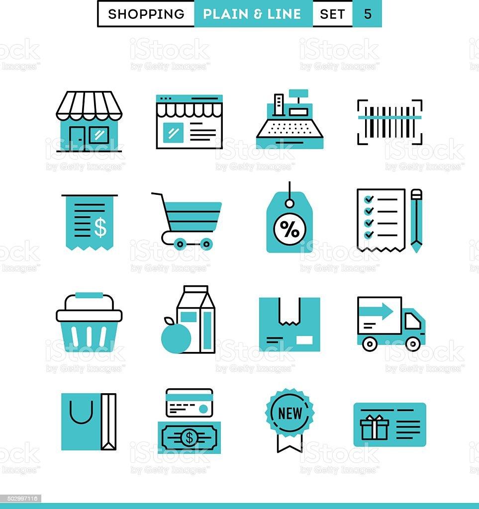 Einkaufsmöglichkeiten, Geschäften, Versand, Gutschein, Ermäßigungen und vieles mehr. - Lizenzfrei Ausverkauf Vektorgrafik