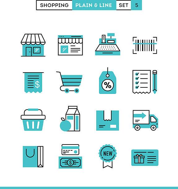 einkaufsmöglichkeiten, geschäften, versand, gutschein, ermäßigungen und vieles mehr. - kassenbon stock-grafiken, -clipart, -cartoons und -symbole