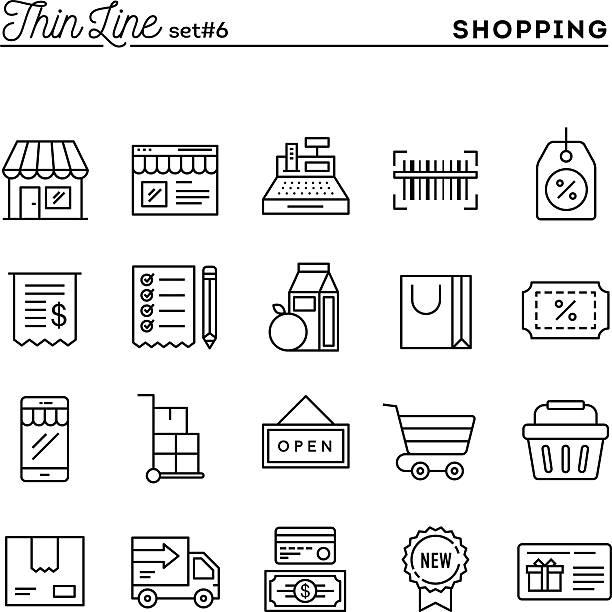 einkaufsmöglichkeiten, geschäften, versand, gutschein, ermäßigungen und mehr - kassenbon stock-grafiken, -clipart, -cartoons und -symbole