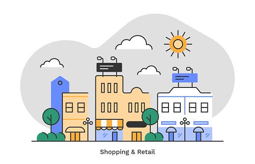 Shopping & retail district—flat monoline illustration of urban skyline with editable stroke