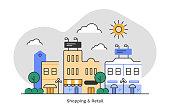 istock Shopping & retail district—flat monoline illustration of urban skyline with editable stroke 1307664143