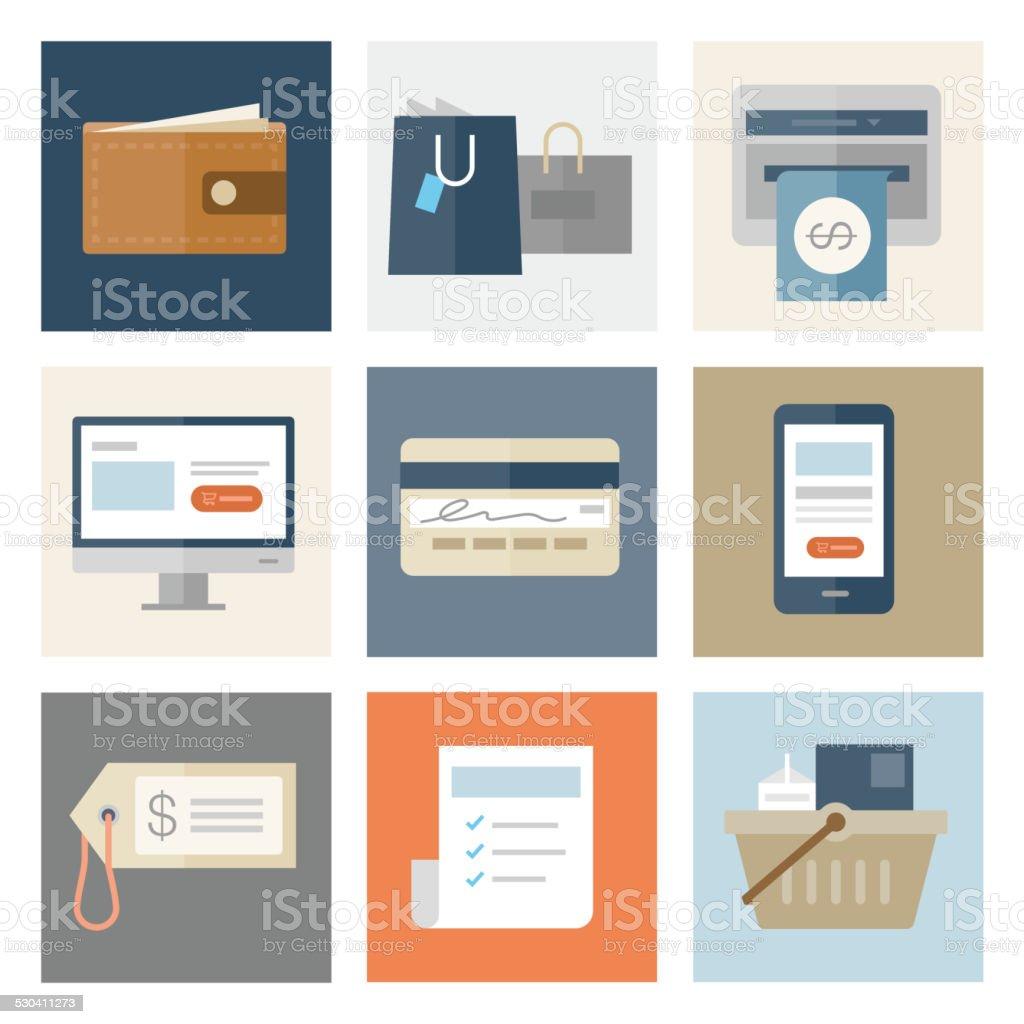 Shopping & Retail Icons — Flat Series vector art illustration